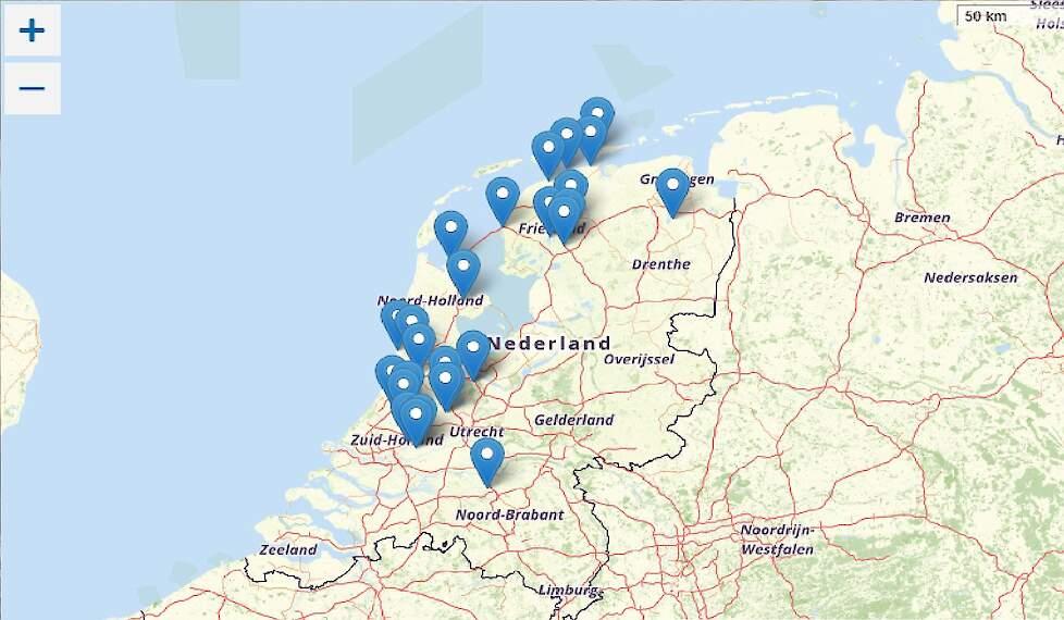 Het hoog pathogene H5N8 vogelgriepvirus is momenteel ook wijdverspreid onder diverse wilde vogels aanwezig in Nederland. Dat is te zien op een kaart van de NVWA.