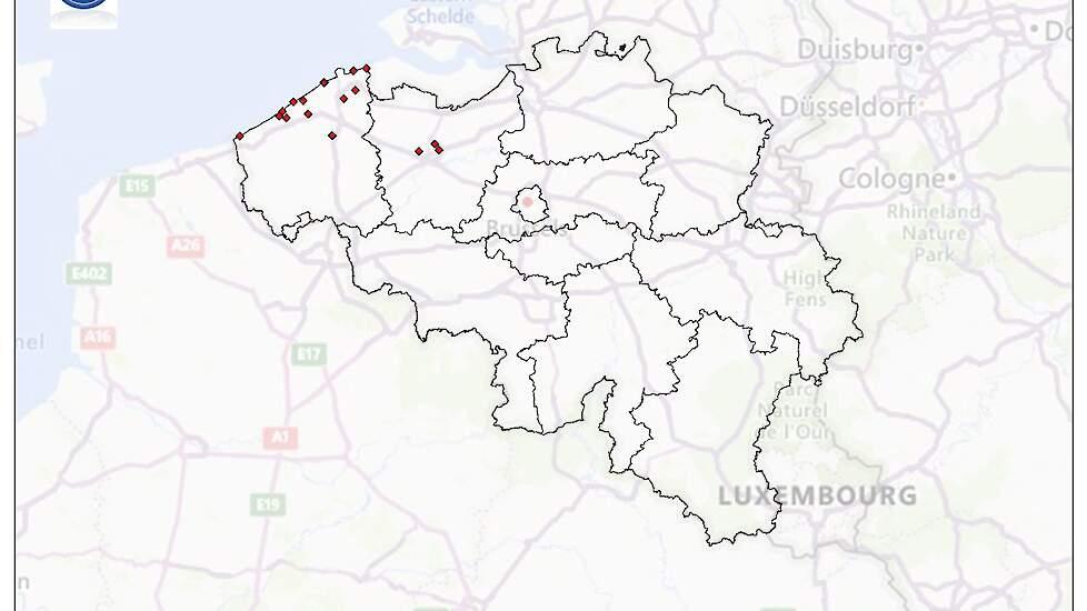 Locaties waar hoog pathogene vogelgriep is vastgesteld bij wilde vogels. Kaart van het Federaal Agentschap voor de Veiligheid van de Voedselketen (FAVV).